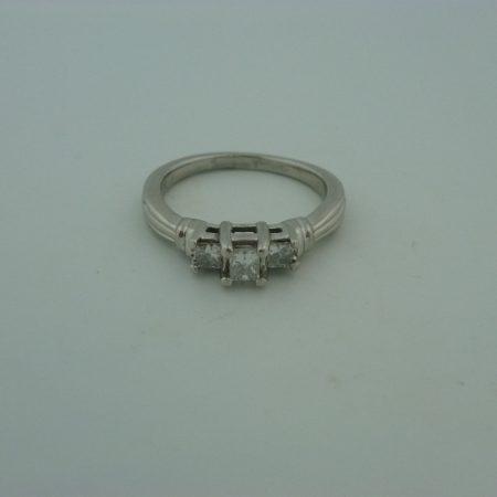 2201 Platinum Princess Cut 3 stone ring 3